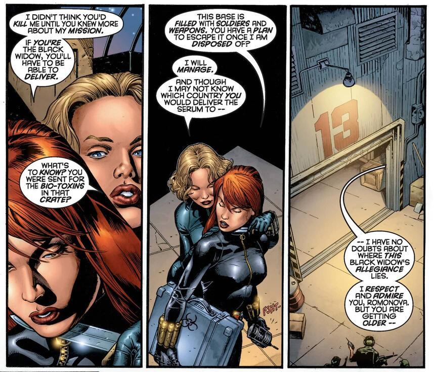 Em três quadros de HQ Natasha e Yelena demonstram suas indiferenças com Yelena ameaçando-a com faca.