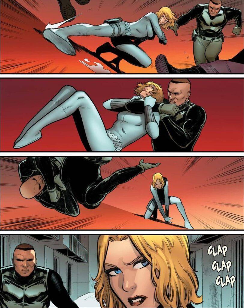 A personagem Yelena demonstra seus golpes de luta nas HQS em quatro quadros em sua roupa branca.