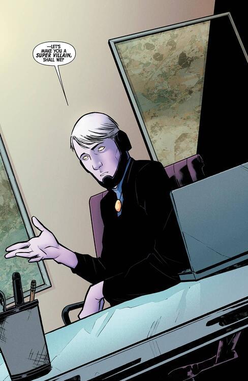 O mercador do poder é apresentado com pele lilás e cabelo branco usando um terno preto e uma grava lilás fazendo negócios.